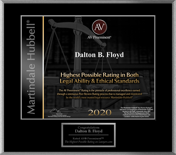 AV Preeminent Lawyers Award (Legal Ability & Ethical Standards) - Dalton Floyd, Jr. 2020