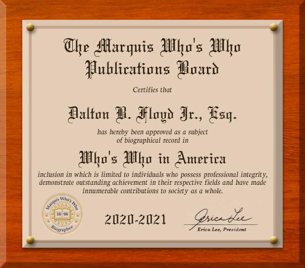 The Marquis Who's Who Publications Board 2020 - Dalton B. Floyd Jr., Esq.